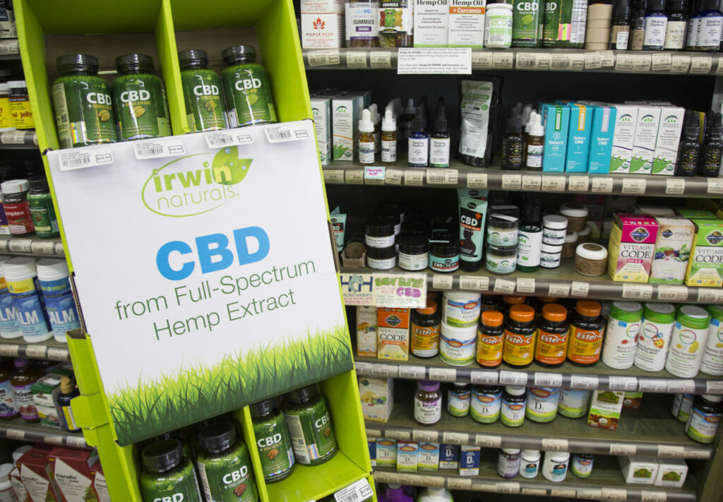 Products with hemp-derived cannabidiol were being sold at Morning Glory Natural Foods in Brunswick early this year. Gov. Janet Mills signed emergency legislation in March that allowed for the continued sale of CBD foods in Maine, but Maine did not direct its public health and restaurant inspectors to start enforcing the local CBD requirement among retail food sellers, manufacturers and restaurants until Thursday.