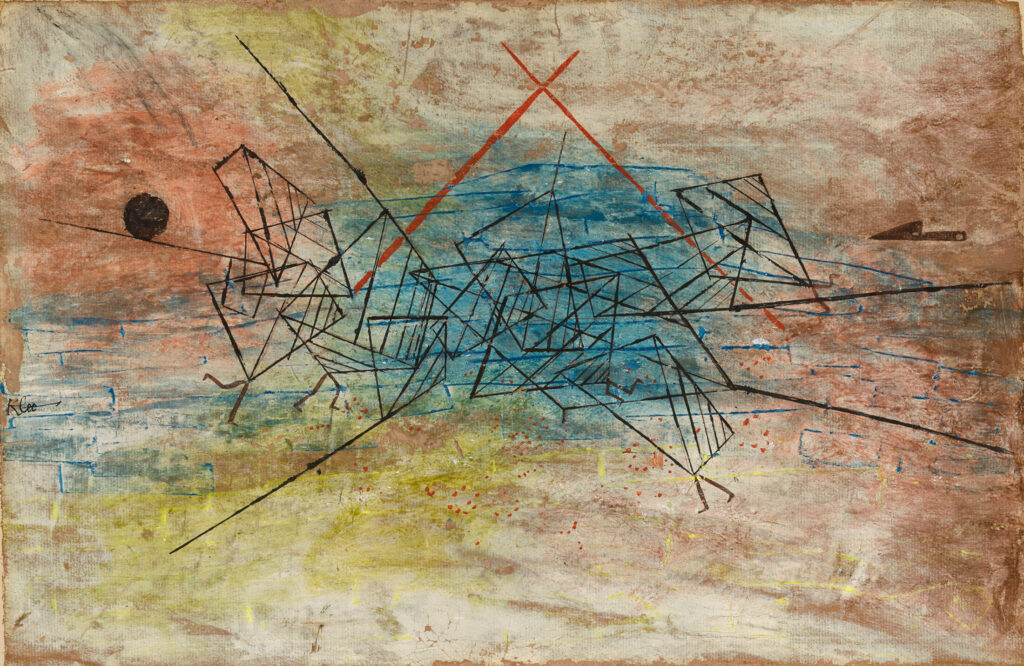 """Gefecht (Battle),"" 1930, gouache on cardboard, by Paul Klee, Swiss, 1879–1940. Anonymous gift, Bowdoin College Museum of Art"