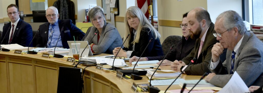 Sen. Rebecca Millett, center, calls for a vote from members of the Committee on Education and Cultural Affairs on a bill to ban the use of Native American mascots in public schools during a hearing in Augusta on Monday. The committee voted 7-5 along party lines that the bill ought to pass. It is now headed for the House of Representatives.