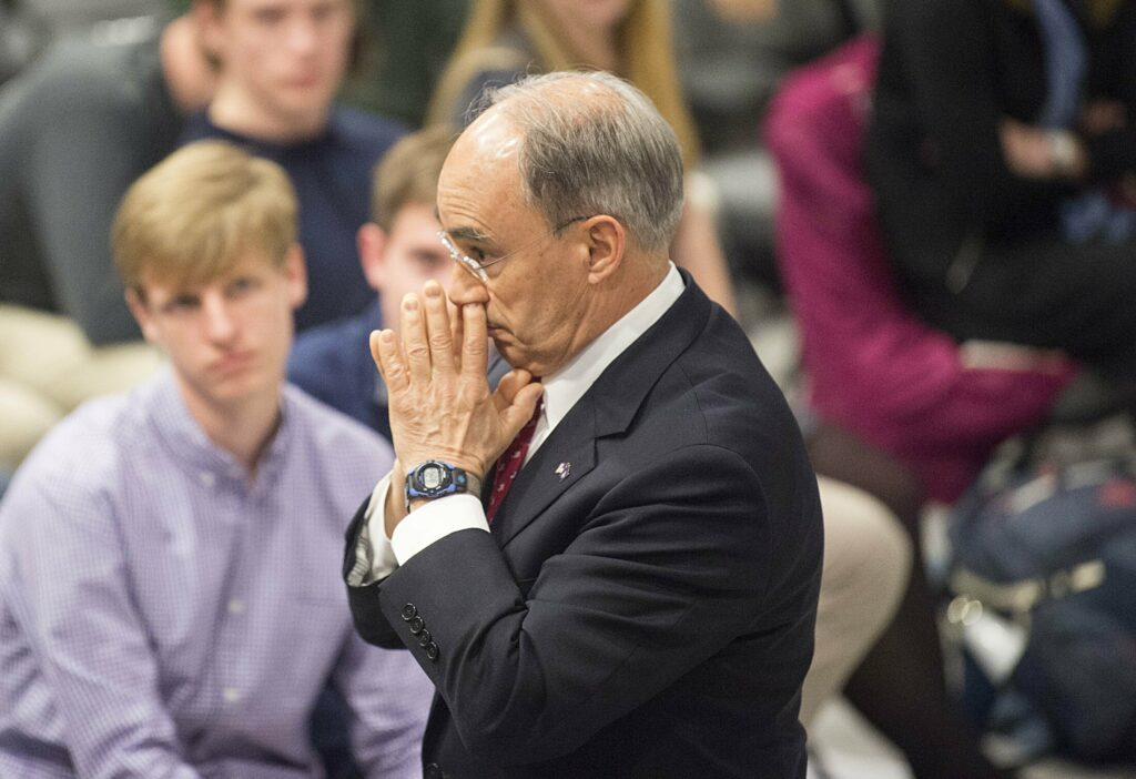 Former U.S. Rep. Bruce Poliquin listens to a question on the merits of ranked-choice voting during a public discussion Tuesday in the Page Commons Room at Colby College's Cotter Union in Waterville.