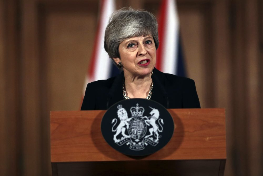 Britain's Prime Minister Theresa May says at a news conference Tuesday outside Downing Street in London that she will seek another delay of Britain's exit from the European Union awhile trying to come to agreement with the political opposition to break the Brexit impasse. May made the announcement after the EU's chief negotiator warned that a chaotic and costly Brexit was likely in just 10 days unless Britain snapped out of the political crisis that has paralyzed the government and Parliament.
