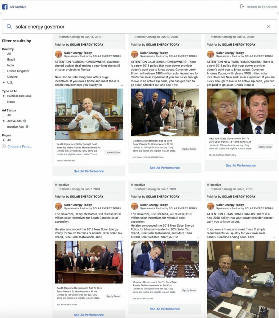 "A screenshot shows the results of a search for Facebook and  ""solar energy governor."" The ads  falsely promised social media users that they could ""get paid to go solar."""