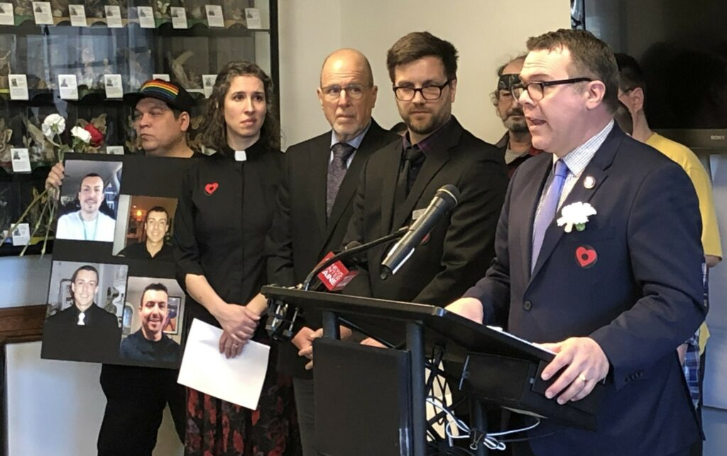 """Rep. Michael Sylvester, D-Portland, speaks Monday during a news conference at the State House before a public hearing on his bill to authorize two """"safe-injection"""" sites to prevent overdose deaths in Maine."""