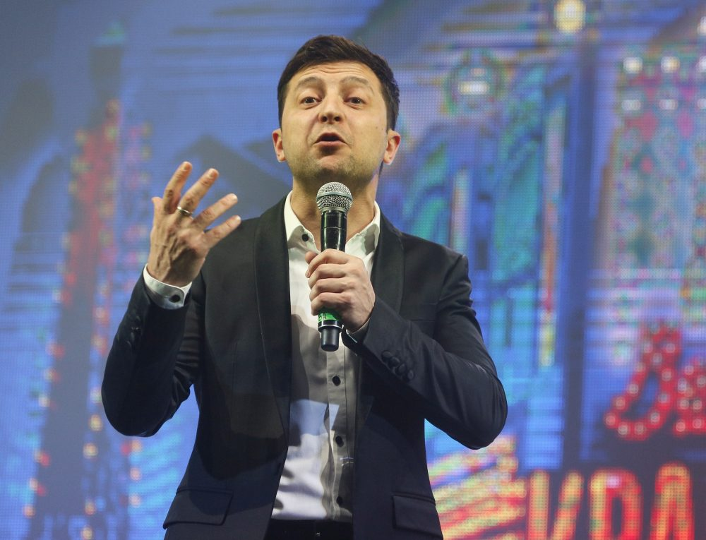 Volodymyr Zelenskiy, a Ukrainian actor and presidential candidate,  hosts a comedy show on Friday. On Sunday, he was the top vote-getter in the first round of the presidential election.