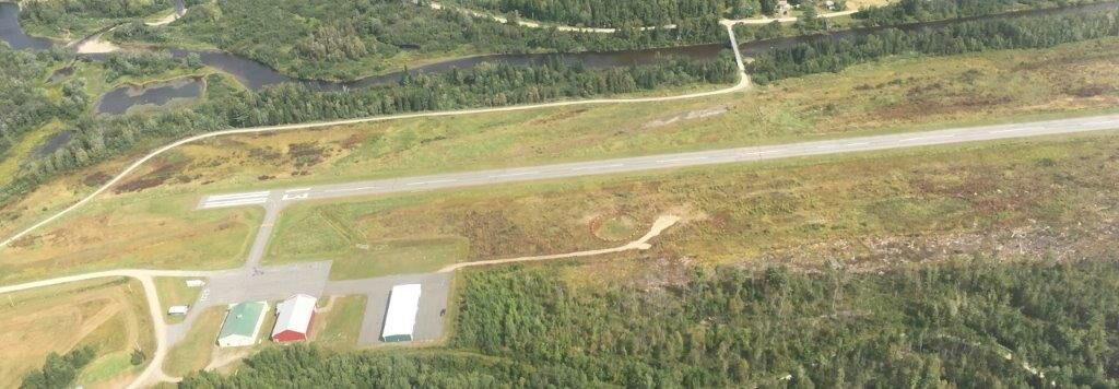 An overhead view of the Newton Field Airport in Jackman.