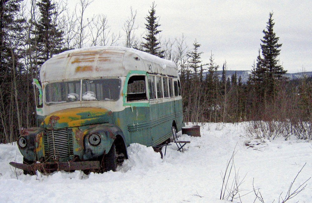"""The """"Into The Wild"""" bus in March 2006. It's being prepared for the outdoor display at the Museum of the North. Museum officials want to share more of the bus' history than what it's most famous for."""