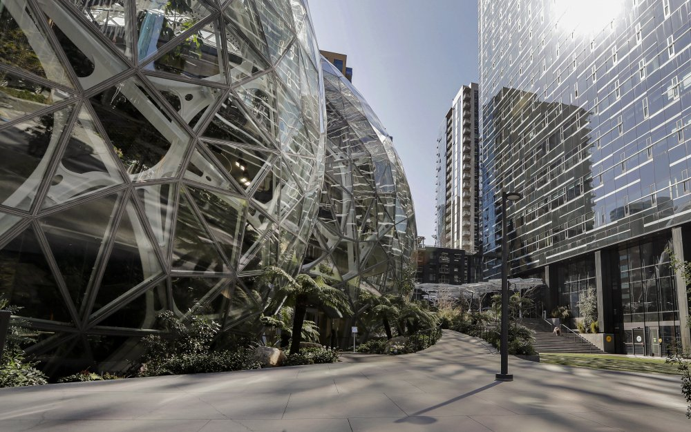 The Amazon campus outside the company headquarters in Seattle sits nearly deserted in March 2020.