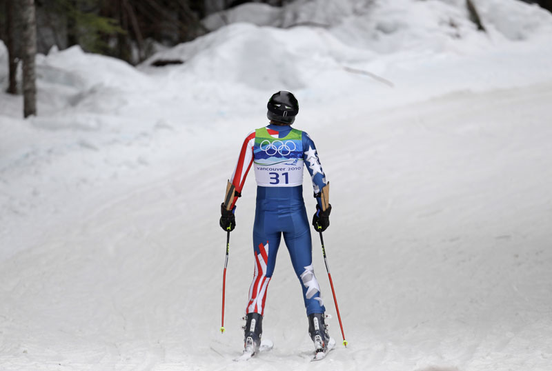 Bode Miller leaves the course today after skiing out in the first run of the Men's giant slalom at the Vancouver Olympics.