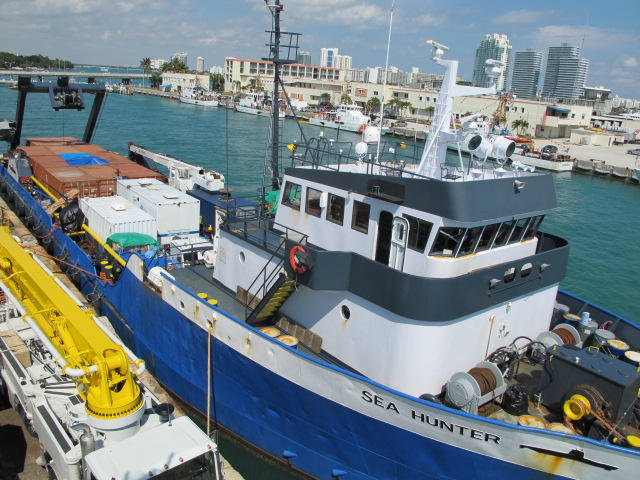 The Sea Hunter sits fully loaded at its dock Monday, awaiting a hoped-for departure to Haiti today.