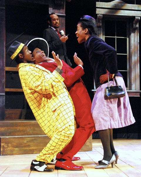 Eric Lockley, Alan Tyson, Jonathan McCrory and Angie Browne in a scene from the play, an adaptation of three stories by American folklorist and writer Zora Neale Hurston.