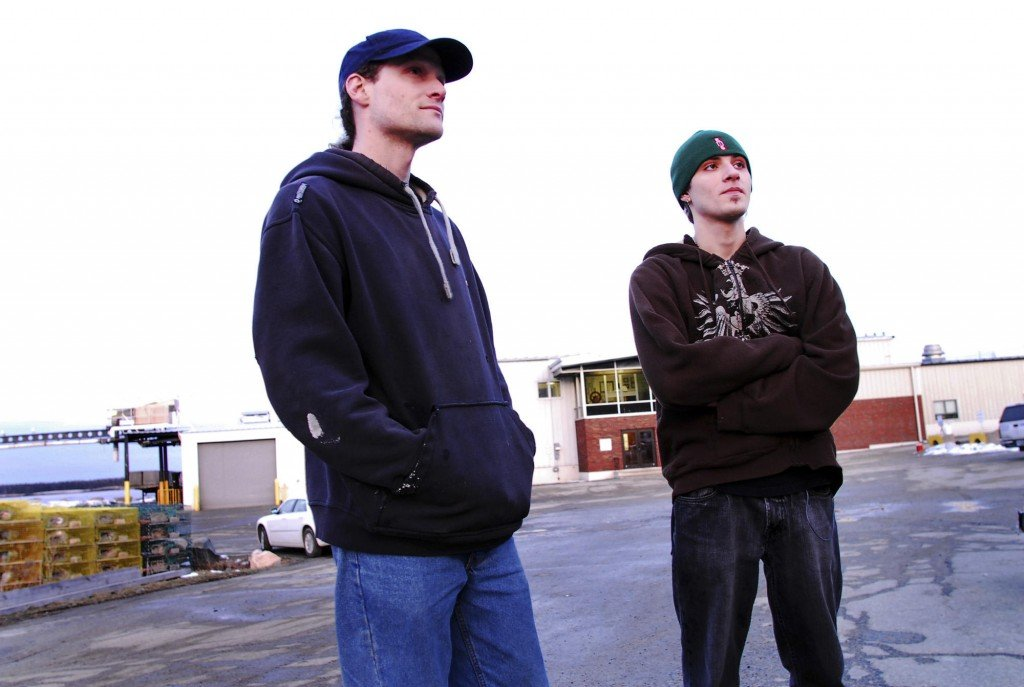 Three full lines go here plz a Eric Deacon, 31, of Corea, left, Anthony Cressler, 19, of Corea, outside of Bumble Bee Foods' Stinson Sardine Cannery in Prospect Harbor on February 17, 2010. Both on the clean-up crew at the cannery and are among 130 workers who learned they would be losing their jobs.