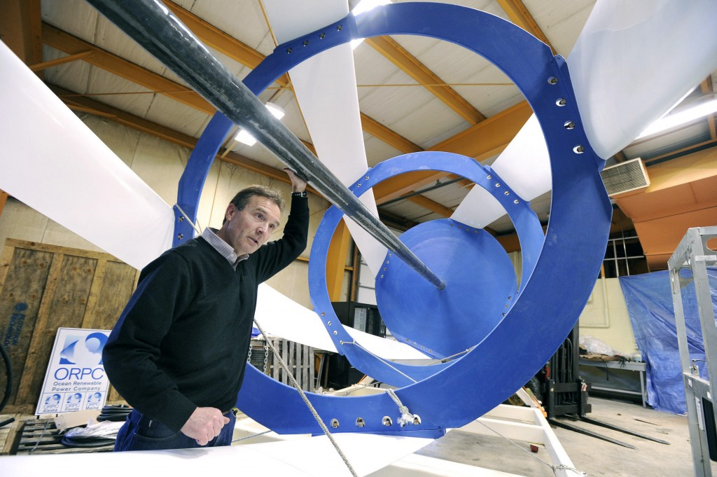 """John Ferland, vice president of project development with Ocean Renewable Power Co., stands inside one of the all-composite turbines that will be installed off the waters of Eastport. The upcoming test of the turbine, he said, is """"like a Broadway debut"""": It needs to generate momentum for the project."""