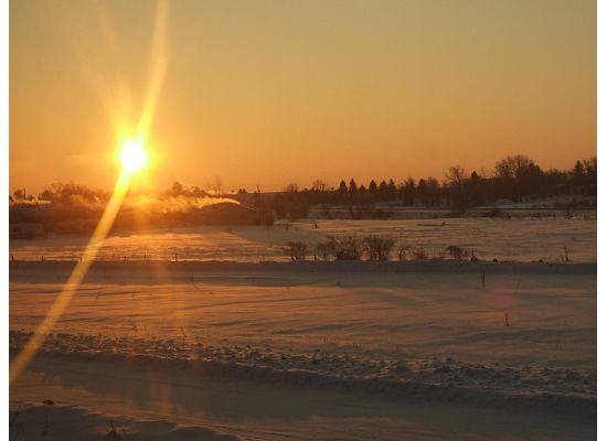 A North Dakota sunrise signaled the start of a good day of viewing America from the rails.