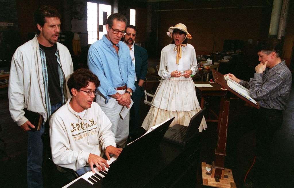 "Charles Abbott rehearses with cast members of ""Chamberlain"" (1996)."