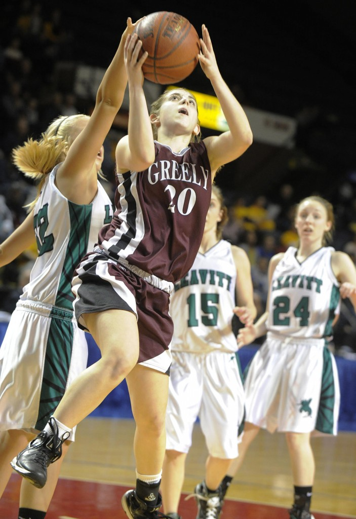 Nicole Faietta, who led Greely with 15 points, including 12 in the second half, finds an opening in the Leavitt defense.