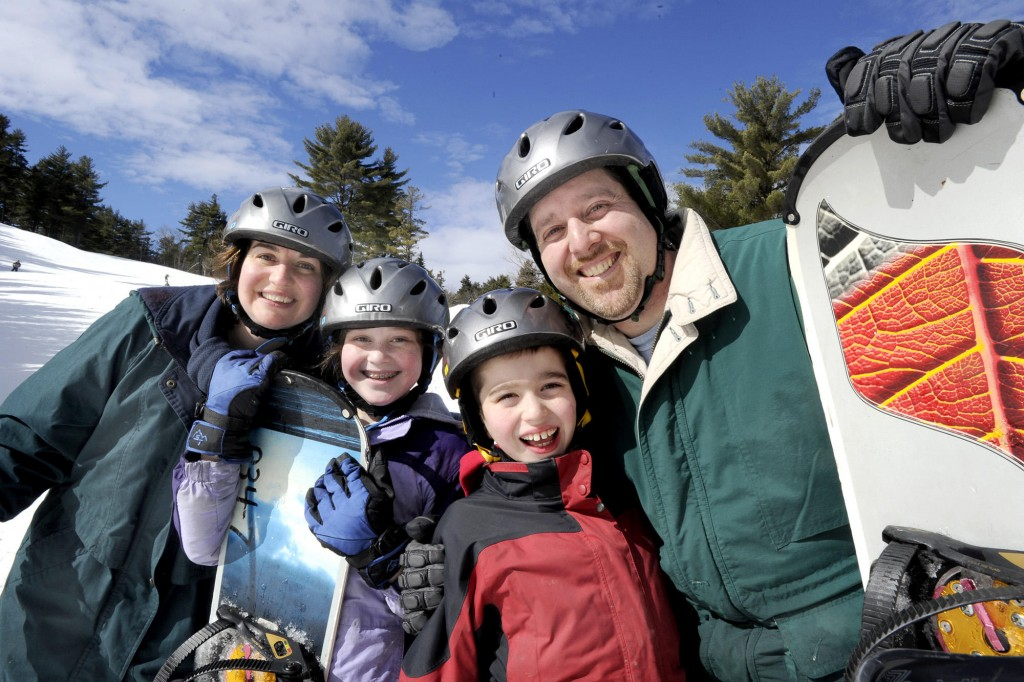 From left: Melanie, Deidre, Peter and Drew Sachson their ski/snowboard adventure at Lost Valley.