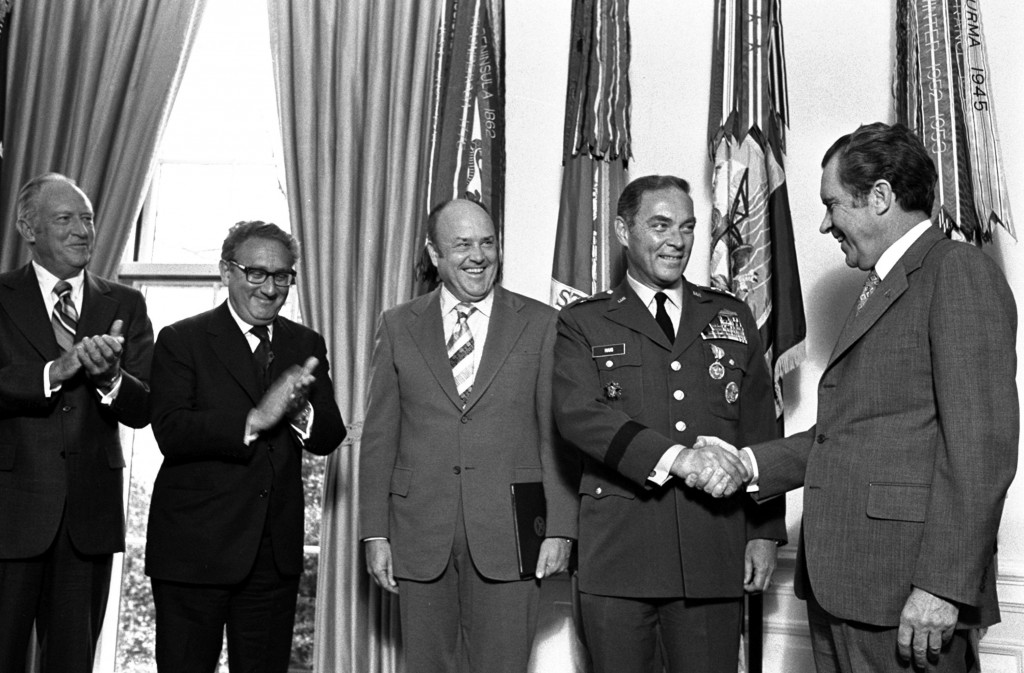 In this Jan. 4, 1973 file photo, President Nixon, right, congratulates Gen. Alexander Haig after presenting him with the Distinguished Service Medal at the White House. Joining the ceremony, from left, Secretary of State William Rogers, Presidential Adviser Henry Kissinger, and Secretary of Defense Melvin Laird. Former Secretary of State Alexander Haig, who served Republican presidents and ran for the office himself, has died. The Haig family says he died Saturday Feb. 20, 2010 at Johns Hopkins Hospital in Baltimore from complications associated with an infection. He was 85.