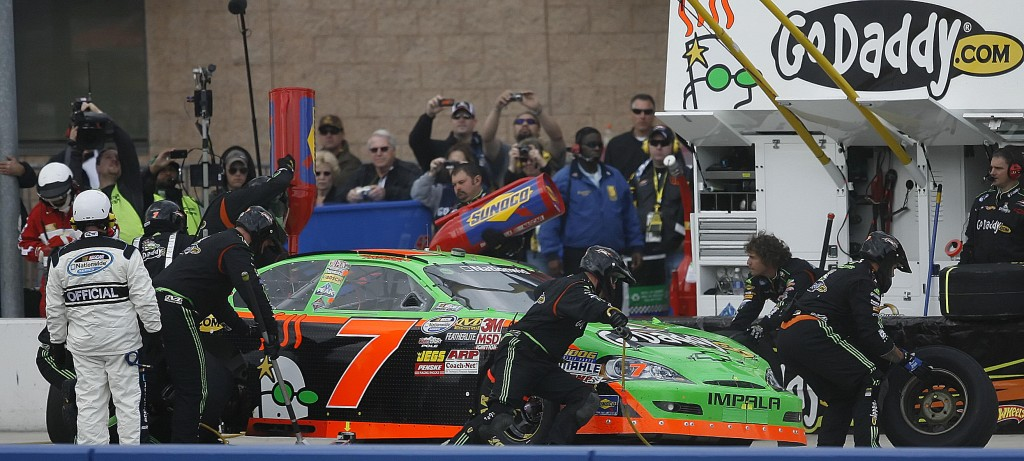 NASCAR driver Danica Patrick, makes a pit stop in the Nationwide Stater Bros. 300 auto race at Auto Club Speedway in Fontana, Calif., on Saturday. Patrick finished 31st while Kyle Busch got the victory.