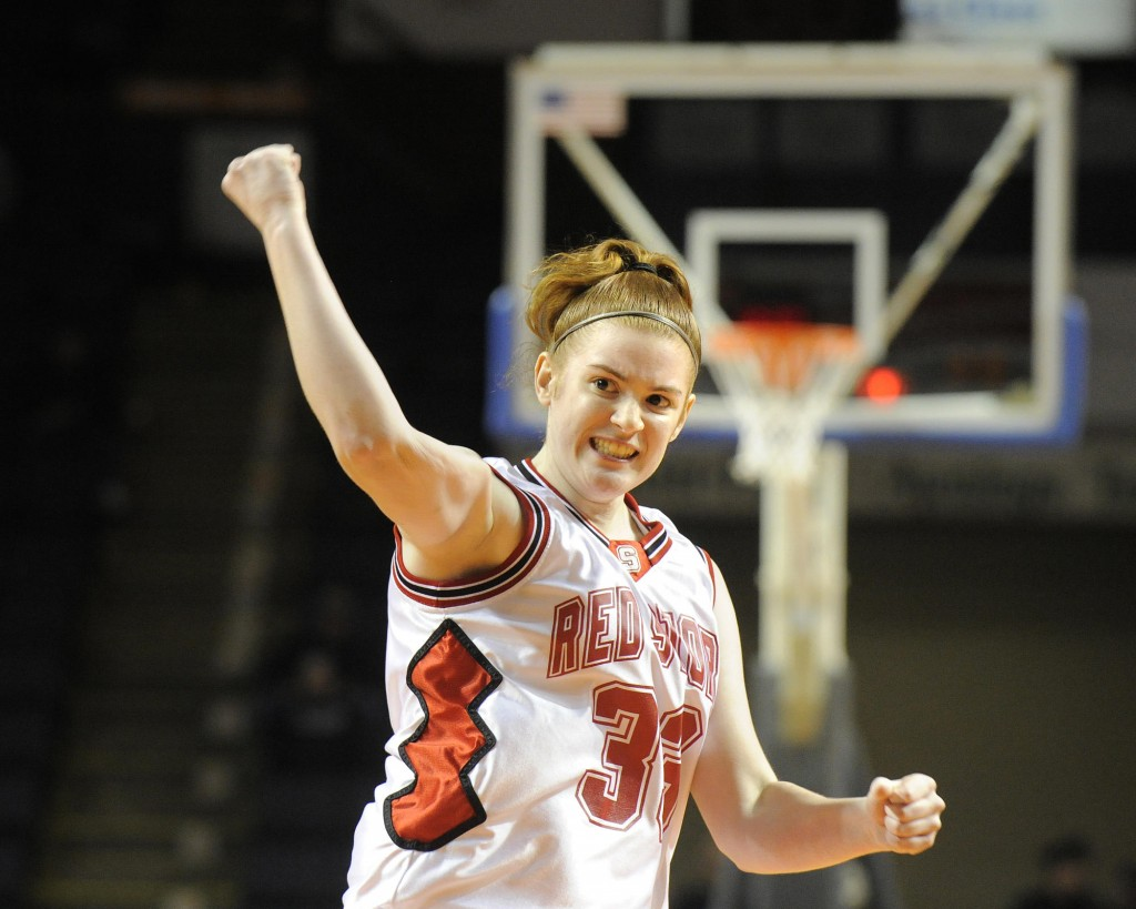 Sarah Moody gestures after sinking a key foul shot Saturday that helped Scarborough put away a 37-34 victory over Deering in the Western Class A girls' basketball final.