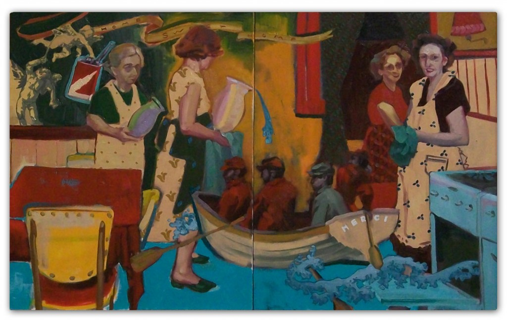 """Water Bearers"" by Kevin Goodrich, oil and silkscreen on canvas, 2009"