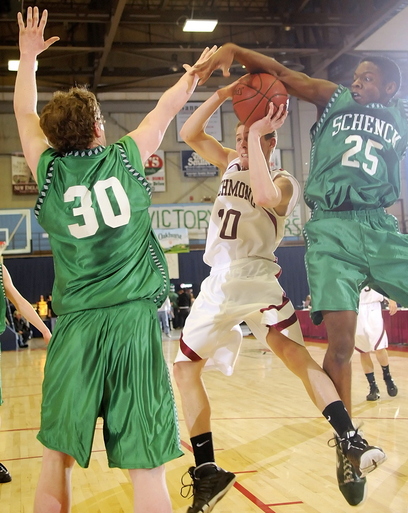 Terry McCafferty, left, and Jared Waite of Schenck double-team Richmond's Michael Christie.