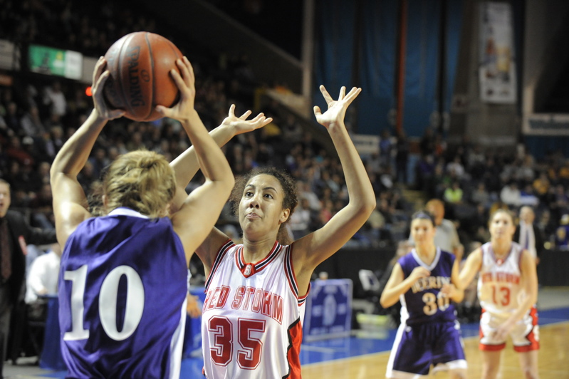 Carly Rogers of Scarborough defends an inbounds pass by Britni Mikulanecz.