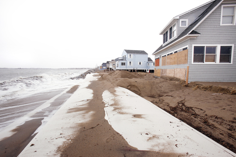 Recent storms have washed the sand off a 300-foot sand tube in Saco that was put down after the Patriots Day storm of 2007 washed away most of Surf Avenue. The storms did $5 million worth of damage in Maine – $2.7 million in York County alone.