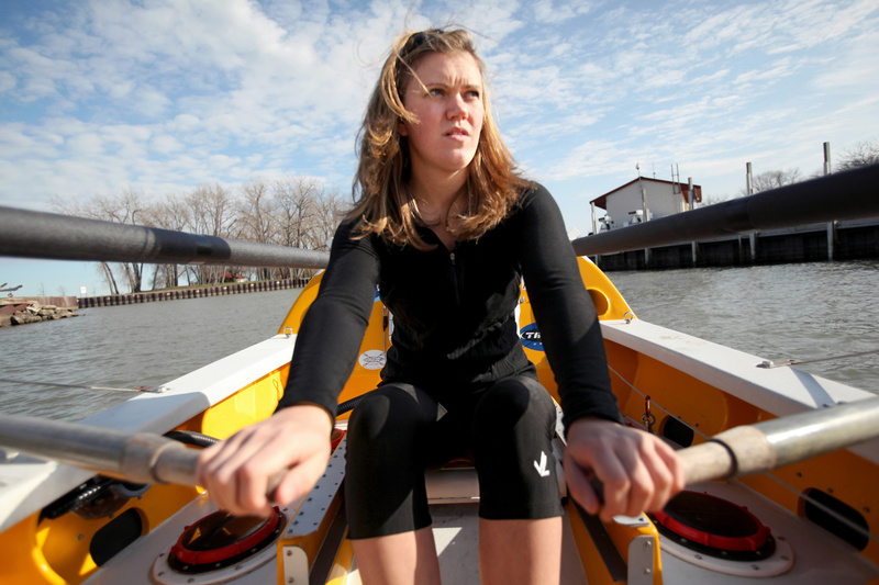 Katie Spotz, 22, rows in the harbor at Mentor Harbor Yachting Club in Mentor, Ohio, in 2009. Spotz finished a solo journey across the Atlantic Ocean in a 19-foot rowboat Sunday, raising money for a nonprofit whose goal is to bring clean drinking water to those who lack it.