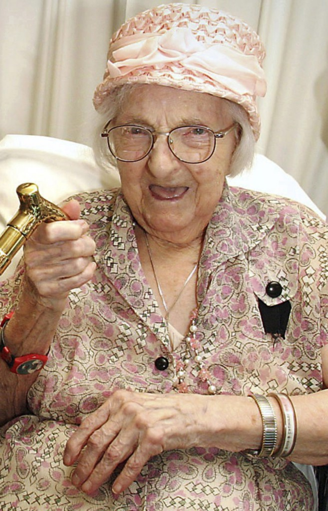This May 17, 2006, file photo shows Mary Josephine Ray during her 111th birthday party in Westmoreland, N.H. She died Sunday at age 114.