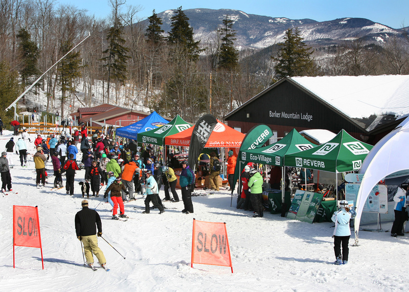 Information and product tents in the IZStyle World Tour draw a crowd to the Barker Mountain Lodge at Sunday River.