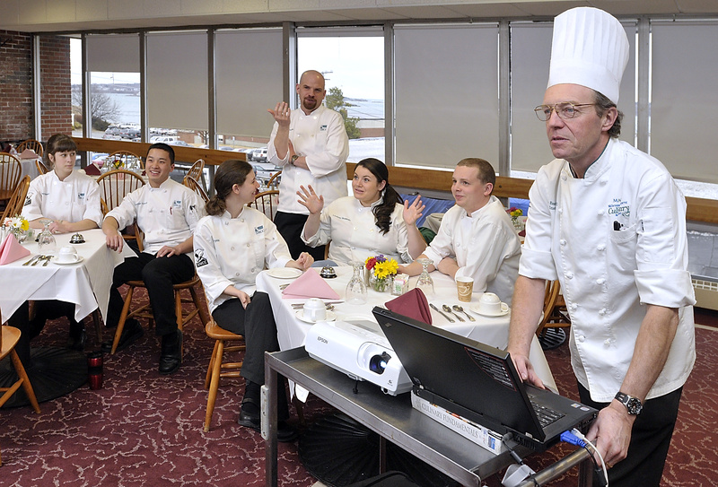 Chef Geoff Boardman, culinary arts instructor at Southern Maine Community College, right, conducts a mock competion with help from Chef Tony Poulin. From left are team members Lindsey Stewart, Michael Kusuma, Crystal Cassette, Lindsay Bradeen and Nick Ault. Not pictured is teammate Brett Cary.