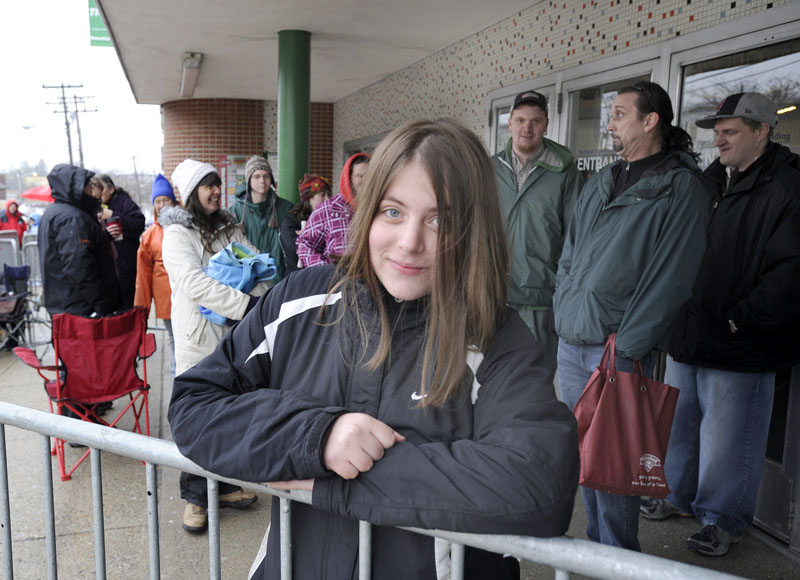 Nicole Perrine from Old Orchard Beach was the first in line at 12:45 am as she and over 800 people lined up at the Portland Expo by 9 am for tickets to see President Obama who will speak at the Portland Expo tomorrow.