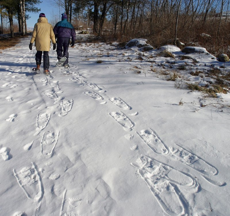 A couple makes tracks snowshoeing at Pineland Center in New Gloucester. Gregory Rec