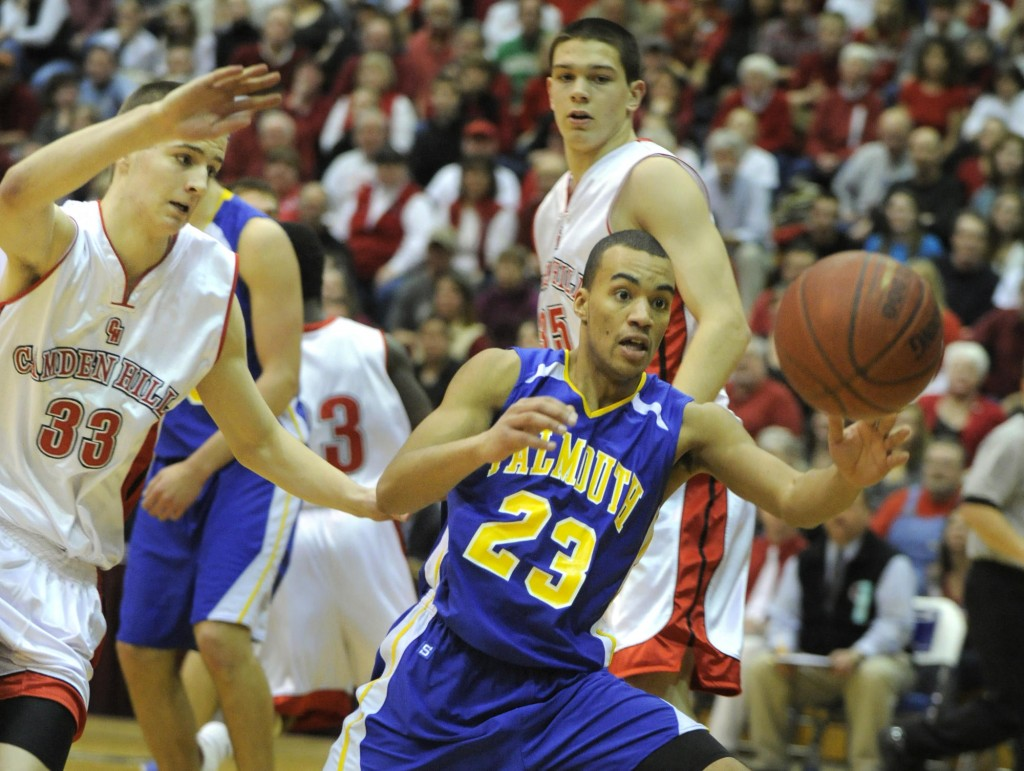 Jahrel Registe helped Falmouth win its first basketball state title since moving up to Class B in 2000, as the Yachtsmen beat Camden Hills on Friday night. Falmouth won three straight Class C titles starting in 1997.