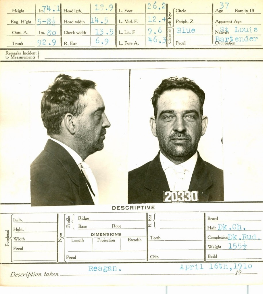 """Untitled"" mug shot of a former restaurant worker from the collection of Lou Jacobs on view at Rabelais."