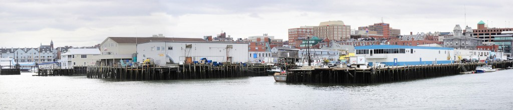 Piers on the Portland waterfront are seen in a composite photo. A forum tonight will focus on economic conditions, and another on Thursday will outline potential zoning changes.