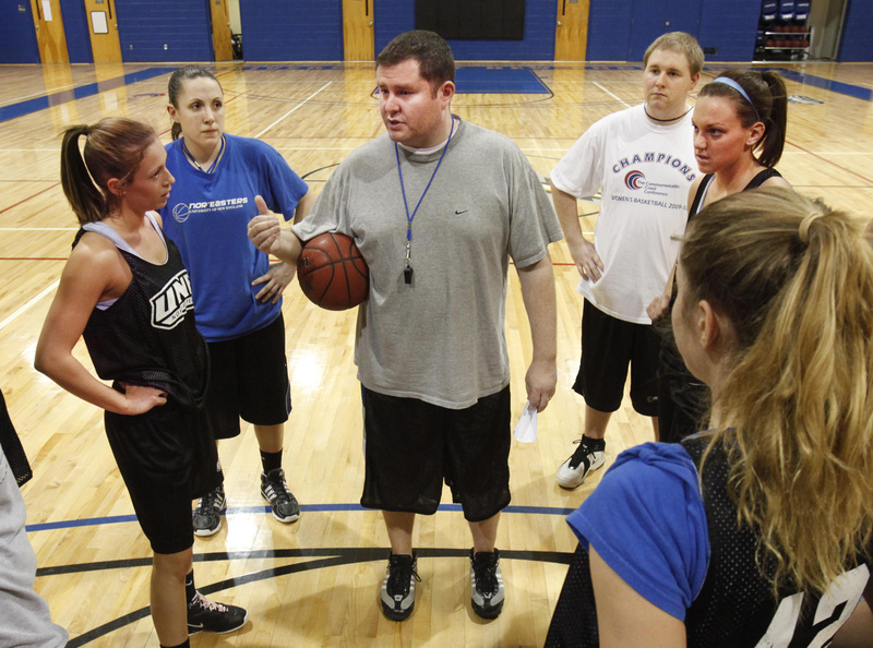 Coach Anthony Ewing talks with his team during UNE's workout Monday. Ewing guided the Nor'easters to their first NCAA Division III tournament appearance since 2001. UNE qualified by winning its conference tournament.