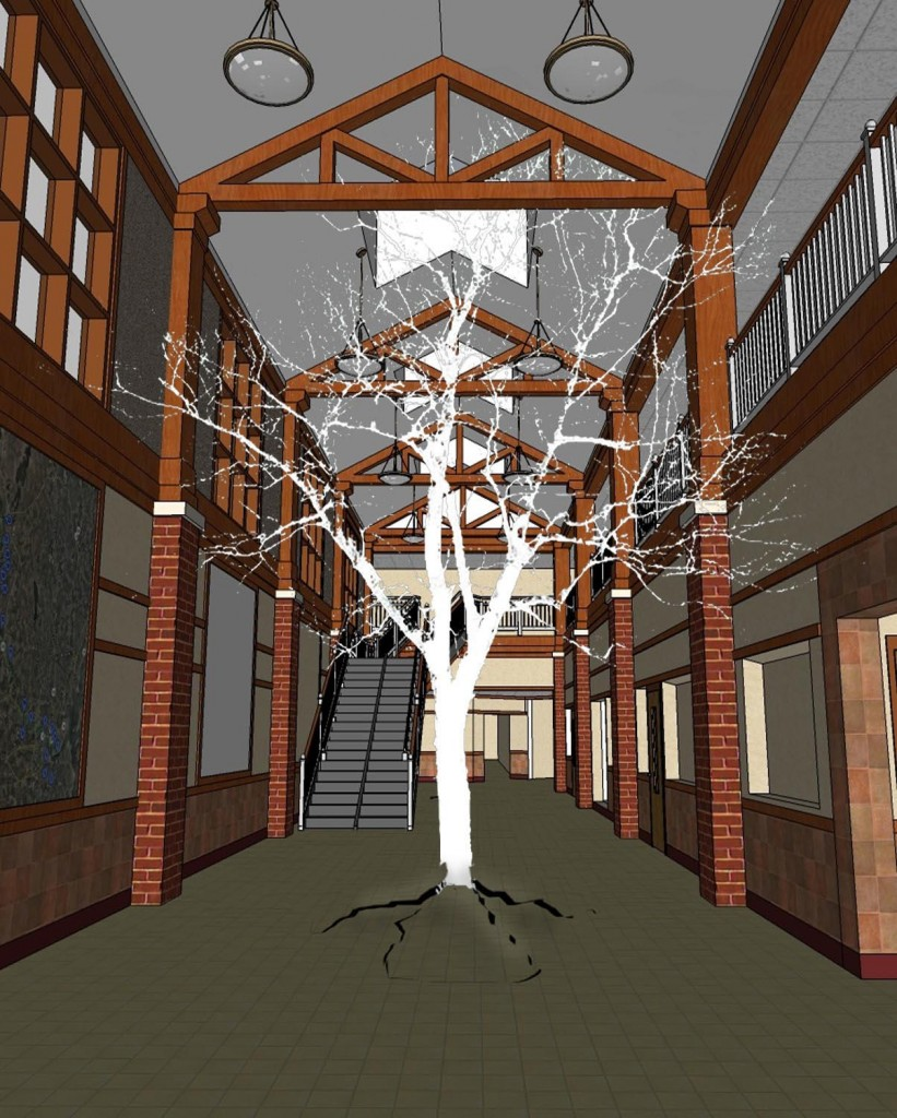 """Concept drawing for Aaron Stephan's """"RE: turn,"""" for which he will create a sculpted tree in the Westbrook Middle School's atrium from logs salvaged from the bottom of Moosehead Lake."""