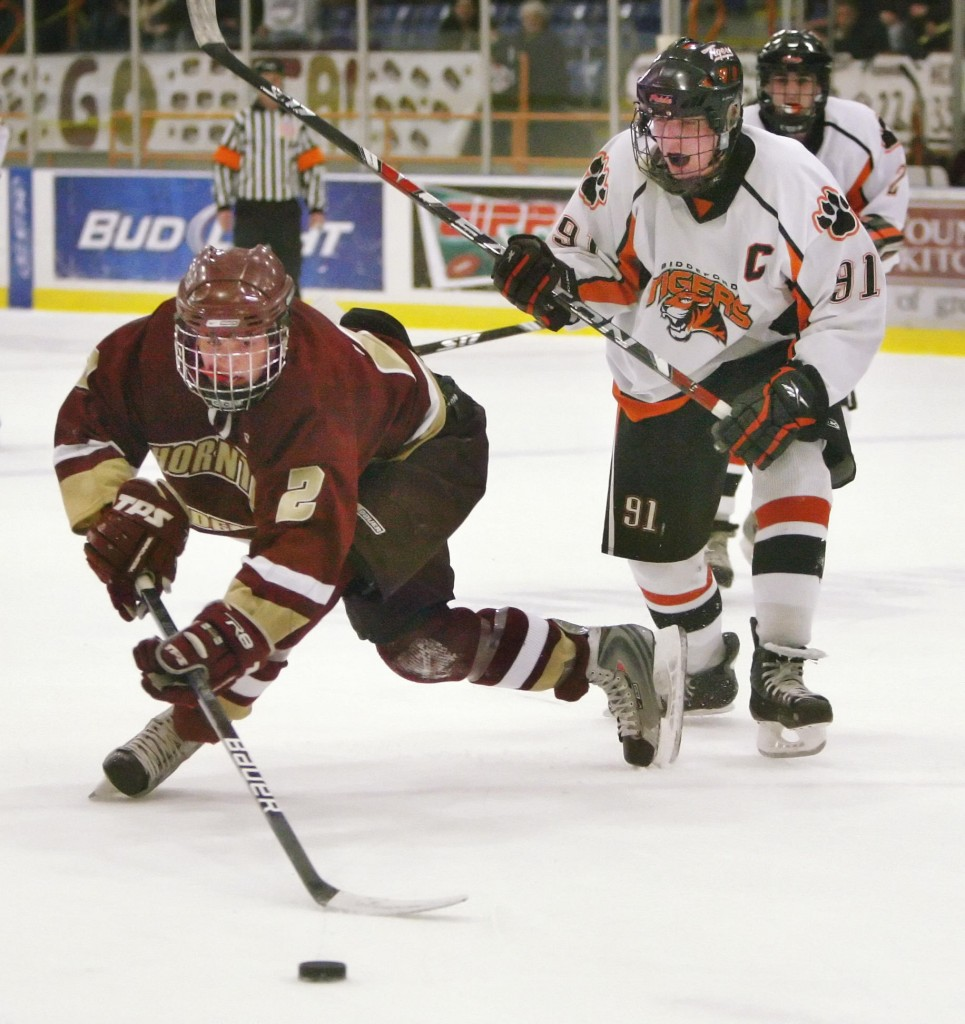 Biddeford's Trevor Fleurent, right, will look to cap a great season – he leads Class A in goals – with a state title.
