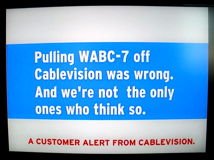 A television screen in Brooklyn, N.Y., carries a message from Cablevision to millions of customers in New York area households who were facing the prospect of not seeing the Academy Awards. The message was broadcast after ABC's parent company, Disney, switched off its signal to Cablevision customers because the two companies failed to reach a deal in a dispute over fees.