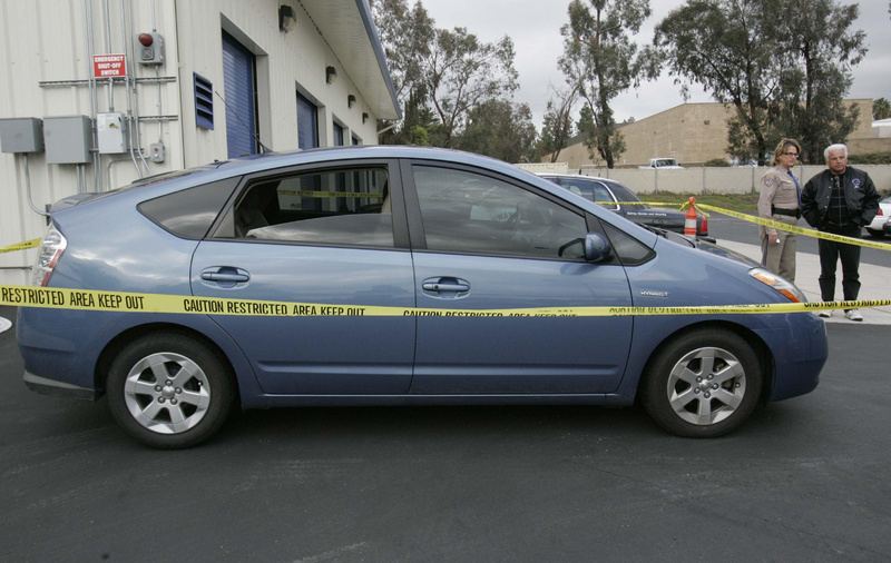 James Sikes' Prius sits at the dealership where he bought it, waiting for investigatorsto arrive Tuesday.