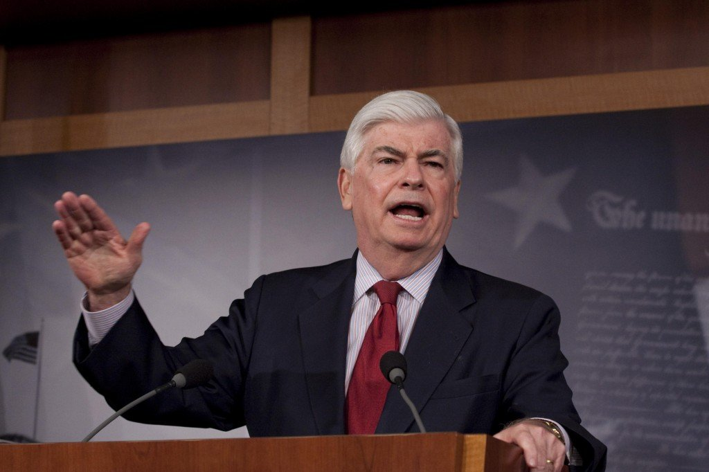 Senate Banking Committee Chairman Sen. Christopher Dodd, D-Conn., holds a news conference Thursday. Dodd says he will offer his own version of a sweeping overhaul of financial regulations without Republican support.