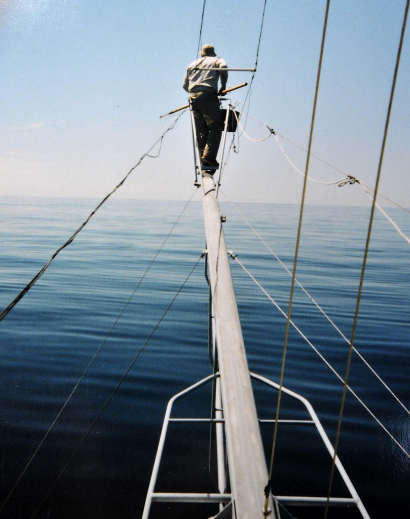 "David Linney hunts a school of tuna from the ""tuna pulpit"" on a boat in July 2004."