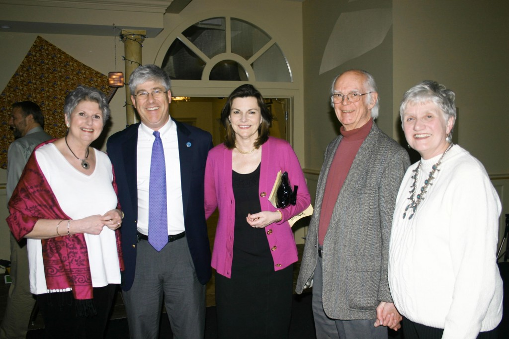 Marge Sampson of Portland High, Portland Mayor Nicholas Mavodones, the mayor's wife, Kelly Hasson, principal at the Hall School, Lincoln Stelk and Virginia Stelk, of the Multilingual Program.