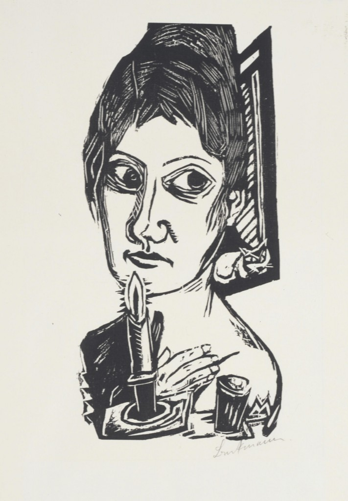"""Woman with Candle,"" 1920, woodcut"