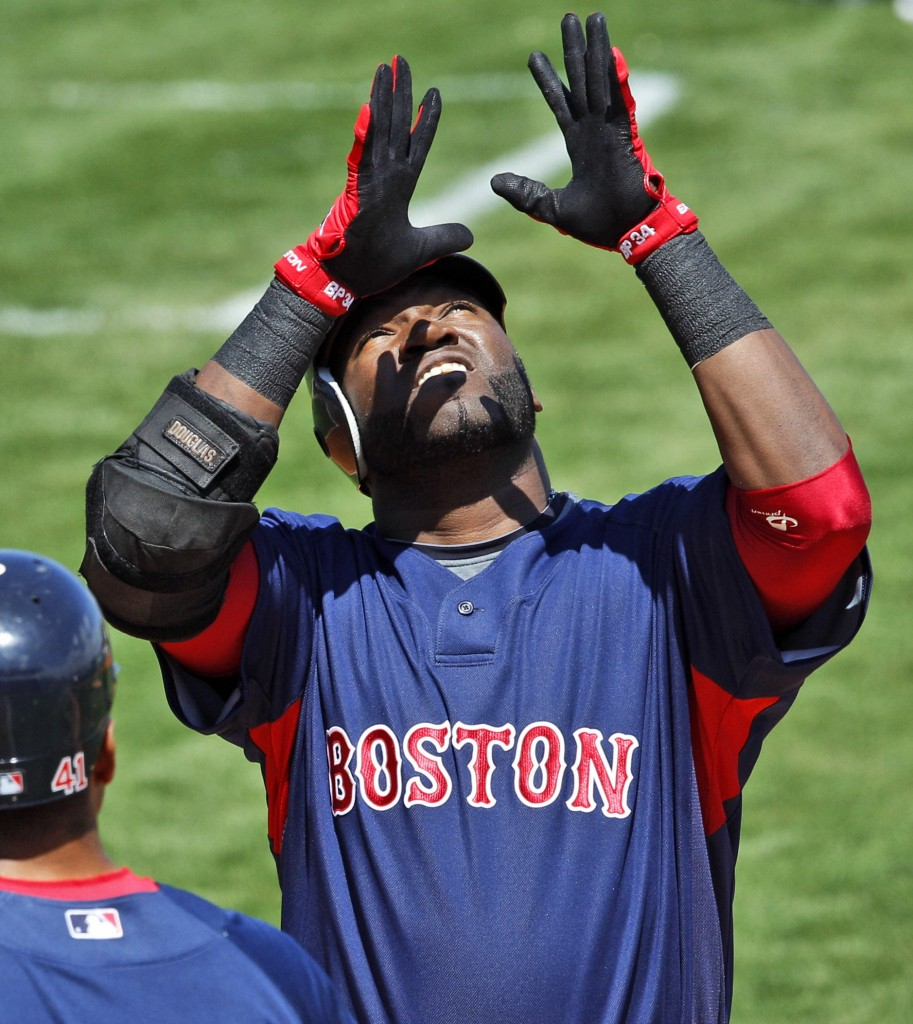 David Ortiz hit a two-run homer Friday for the Boston Red Sox in the first inning of a 9-7 loss to the Pittsburgh Pirates at Bradenton, Fla. Josh Beckett yielded four runs in 3 1⁄3 innings.