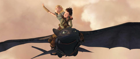 "Astrid (voiced by America Ferrera) and Hiccup (voiced by Jay Baruchel) soar on the wings of Toothless in the animated adventure, ""How to Train Your Dragon."""