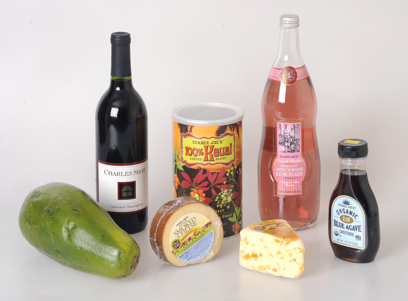 "Some fun finds on a trip to Trader Joe's in Cambridge included a big papaya, a bottle of Charles Shaw cabernet sauvignon (""Two Buck Chuck""), smoked gouda, 100 percent Kauai coffee beans, Stilton with apricots, French Berry Lemonade and organic raw blue agave sweetener."
