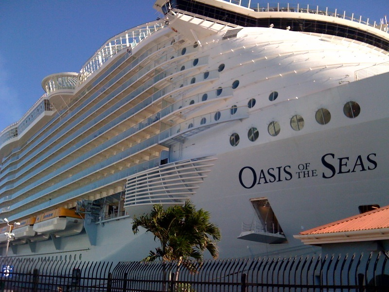 The Oasis of the Seas now holds the record as the world's largest cruise ship. It holds more than 5,000 passengers and has a garden, skating rink and boardwalk.