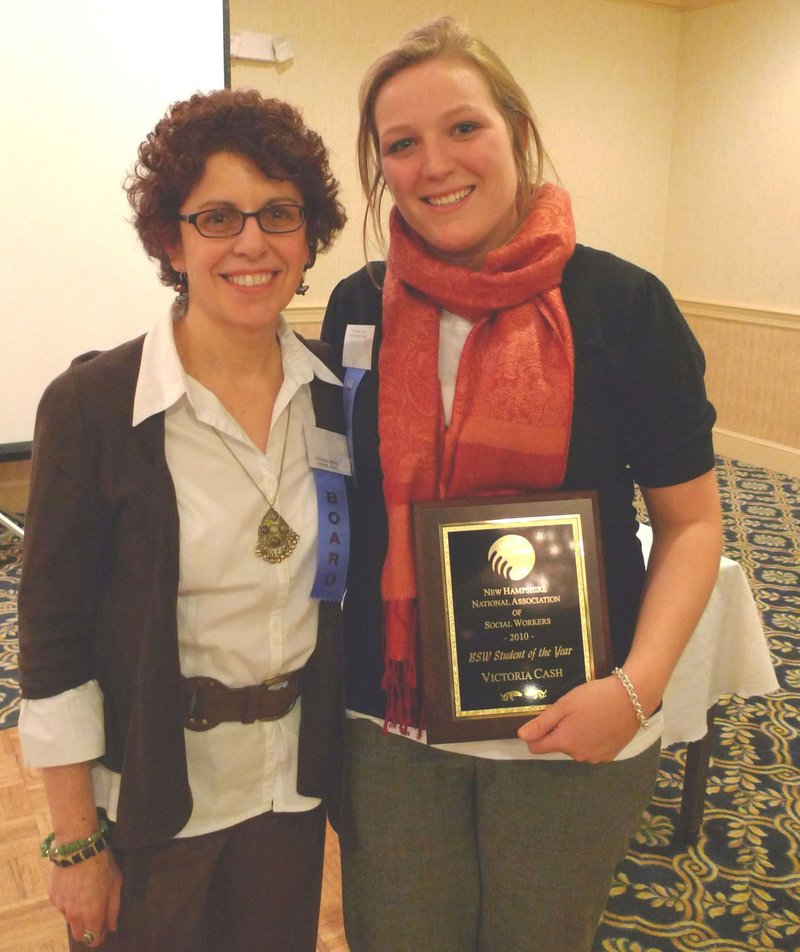 Deering graduate Tori Cash, right, poses with Cynthia Moniz, Plymouth State University social work department chair, after Cash won the New Hampshire Chapter of the National Association of Social Workers Student of the Year award.